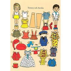 Steinssons - Tommy o Annika - Astrid Lindgren Pippi Longstocking, Paper Toys, Paper Crafts, Art Folder, Quilling Designs, Vintage Paper Dolls, Hand Art, Kids Prints, Doll Toys