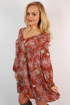 Throw this dress on over a finishing slip and add a hat for a bohemian chic look!