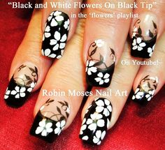 Nail Art Tutorial | DIY Black and White Flower Nail Design
