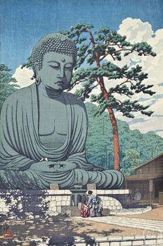 "Japanese Art Print ""Kamakura Daibutsu (The Great Buddha at Kamakura)"" by Kawase Hasui, woodblock print reproduction, asian art, cultural art Japanese Art Prints, Japanese Art Styles, Japanese Drawings, Japanese Artwork, Japanese Painting, Chinese Painting, Japan Illustration, Botanical Illustration, Kamakura"