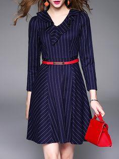 Shop Mini Dresses - Dark Blue V Neck 3/4 Sleeve A-line Mini Dress online. Discover unique designers fashion at StyleWe.com.