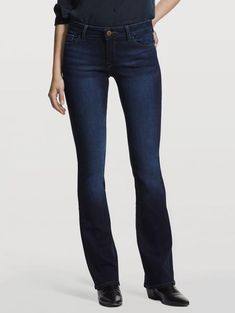 """The Bridget is a our Instasculpt bootcut with a flattering, standard rise and a high-recovery, high-retention fit that sculpts the legs, butt and waist without ever bagging, sagging or losing its shape. Peak is a clean-detailed, classic dark indigo that you can wear year-round.This style fits true to size. Model is 5' 8"""" and wearing a size 25. DETAILS Mid rise Zip fly with single-button closure Five-pocket styling Antiqued brass hardware FABRIC & FEEL 93% CO..."""