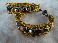 Crocheted Wire Hoops with attached post and nut  by dragonswire, $40.00