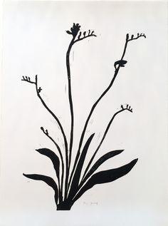 Freesia - Hand printed linocut on white velvet paper, by Hugo Guinness.  Available at Wilson Stephens & Jones