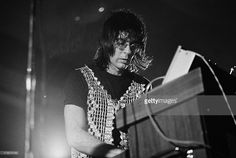 Keyboard player Manfred Mann performs live on stage with Manfred Mann's Earth Band at Westfield College in North London in November 1973.