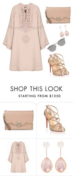 """""""Untitled #735"""" by crazybookladysuzejn ❤ liked on Polyvore featuring Valentino, Christian Louboutin, Larkspur & Hawk and Linda Farrow"""