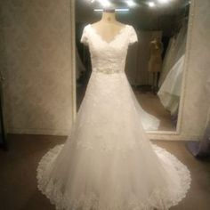 Style #97201 - Modest Plus Size V-Neck Wedding Gown - Darius Cordell