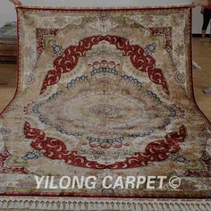 Yilong 7.2'x10.2' Red Huge Silk Rugs Hand-knott​ed Carpets Luxury Style Handmade 1183