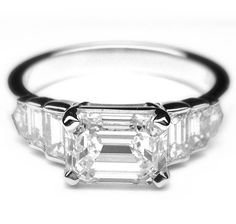 1.80 Ct. Horizontal Emerald Cut Diamond Engagement by AnyeJewelry