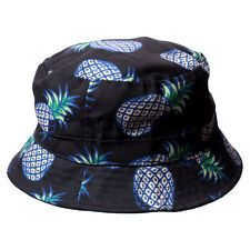 Blue Pineapple Hawaiian Print Floral Bucket Hat Boonie Cap Outdoor Beach Fishing