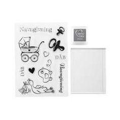 Clear stamp kit A6 DK Baby/Dåb - Papir & stempler til den kreative