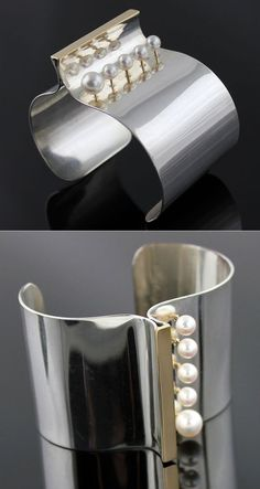 Cuff | Betsy Fuller. Sterling silver, 18k gold and pearls. 1984.