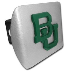 Baylor University Green BU Brushed Chrome Hitch Cover