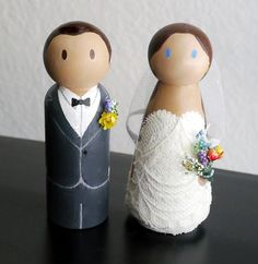 wildflowers and lace  wedding peg dolls