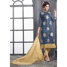 Chanderi Cotton Grey Churidar Suit Dress Material - 16512