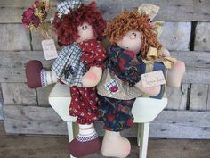 Country Primitive Lazy Daze Raggedy and Dolly