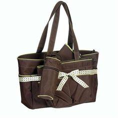 5 in 1 Diaper Bag Set Brown and Green
