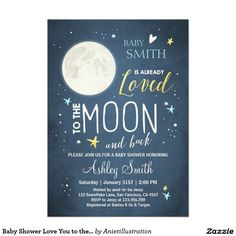 Baby Shower Love You to the Moon and Back Blue Boy Card.  Artwork designed by Aniet Illustration. Price $2.16 per card