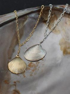 Gold and silver sea shell necklaces