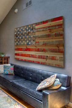 Rustic American Flag decor Maybe for a basement or lake house! :)
