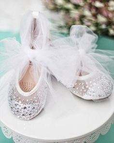 Girls WHITE MESH Shoes With Rhinestone ballet flats with TULLE ankle strap - For flower girls, christening and baptism shoes Flower Girl Shoes, Girls Shoes, Flower Girl Dresses, Flower Girls, Girls Dresses, Sparkly Shoes, Glitter Shoes, Bridal Shoes, Wedding Shoes