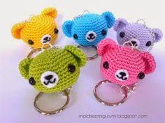 petite tête d'ours en porte clé, adorable Free Amigurumi Patterns