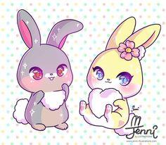 Thumper Miss Bunny . . . #disneyfan #thumper #missbunny #bambi #disney #chibi #bunnylove #jenniilustrations #jennilustrations
