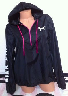 Victoria's Secret Pink Black Pink White Anorak Half Zip Windbreaker Jacket -M/L in Clothing, Shoes & Accessories | eBay