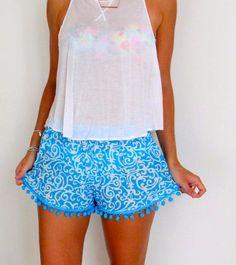 Turquoise Pom Pom Shorts - Blue and White Swirl Print with Large Aqua Pom Pom's