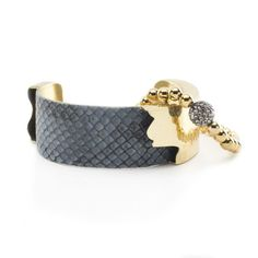 Suede Python Duo - Gray with Gold