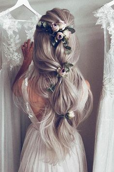 36 Rustic Wedding Hairstyles, HAİR STYLE, 30 Romantic Rustic Wedding Hairstyles ❤️ rustic wedding hairstyles soft half up half down with roses on long blondy hair ulyana aster via instagra. Rustic Wedding Hairstyles, Bride Hairstyles, Down Hairstyles, Pretty Hairstyles, Bridesmaids Hairstyles, Formal Hairstyles, Hairstyles Haircuts, Long Bridal Hair, Hairstyle Ideas