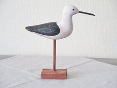 Vintage Carved Wood Bird Wooden Bird Figurine Bird by FoxBoxMarket