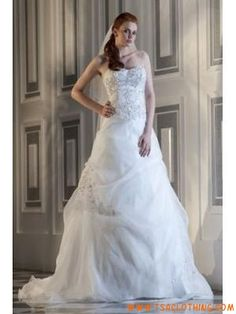 strapless prinses organza met applique trouwjurk