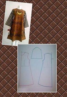 Ideas For Sewing Pants Pattern Fabrics Dress Sewing Patterns, Sewing Patterns Free, Clothing Patterns, Apron Patterns, Sewing Tutorials, Free Pattern, Blouse Batik, Batik Dress, Tunic Pattern