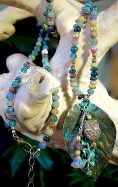 "INDIAN  FOREST Long Cluster Drop Gemstone Necklace Indian Agates,Brass Leaf Czech Glass 36-44"" Artisan Jewelry Bracelets of Blue Ridge"