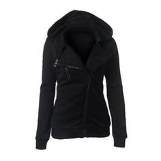 Women's Womens Long Sleeve Casual Slim Fit Oblique Zip up Hoodie... ($9.99) ❤ liked on Polyvore featuring outerwear, coats, black, long sleeve coat, slim coat and slim fit coat