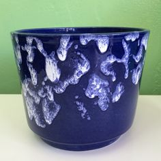 West Germany Pottery Deep Blue/Irregular White Glaze by VINTAGE PLANTERS, POTS & TROUGHS