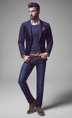 Love this look. Dark rinse jeans, navy blazer, sweater, pocket square, and contrasting light brown/cognac belt. Simple pattern on sweater provides visual interest. Also his shoes don't match his belt perfectly, but you just have to get close enough to get away with it. Date night outfit. Avva Autumn/Winter 2014