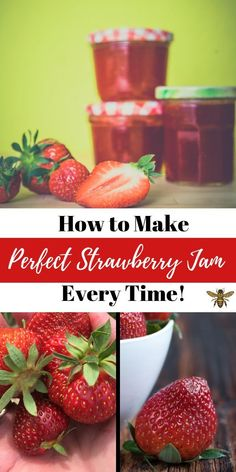 Easy Strawberry Preserves Recipe ~ Gently Sustainable - How to Make Perfect Strawberry Jam Every Time! Easy Strawberry Preserves Recipe, Strawberry Jelly Recipes, Homemade Strawberry Jam, Making Strawberry Jam, Strawberry Jam Recipe Without Pectin, Easy Jam Recipe, Strawberry Freezer Jam, Kitchens