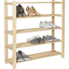 Buy Argos Home 5 Shelf Shoe Storage Rack - Solid Unfinished Pine at Argos. Thousands of products for same day delivery or fast store collection. Shoe Storage Pallet, Shoe Storage Rack, Diy Shoe Rack, Wardrobe Storage, Crate Storage, Rack Shelf, 5 Tier Shoe Rack, Wood Shoe Rack, Hallway Furniture