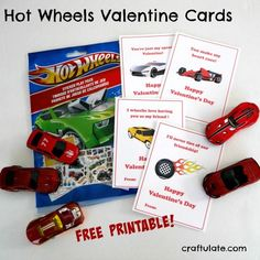 Hot Wheels Valentine Cards - a free printable!