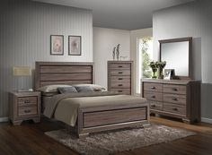"5 pc Lyndon collection weathered gray grain finish wood queen bedroom set. This set includes the Queen bed set, one nightstand, Dresser, Mirror and Chest. Queen bed features a weathered grain finish. Nightstand measures 24"" x 17"" x 27"" H, Dresser measures 59"" x 17"" x 37"" H. Mirror measures 41"" x 39"" H. , Chest measures 33"" x 17"" x 50"" H. Some assembly may be required. Eastern king also available at additional cost."