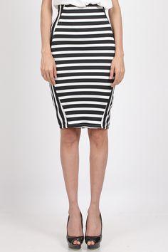 Jual Naomi Stripe HighWaist Skirt, Black White | Rok Wanita Online  Covering Story Rp 175.000