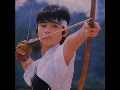 "Kyūdō Shōjo : Young Tomoyo Harada from ""Toki wo kakeru Shōjo"" 1983 / 弓道少女 : 原田知世… Showa Era, Beauty Portrait, Archery, Martial Arts, Actors & Actresses, Asian Girl, Idol, Singer, Japanese"