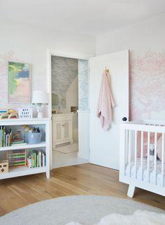 Project Nursery - Emily Henderson Girl Nursery with Pink Tree Wallpaper Nursery Design, Nursery Decor, Nursery Ideas, Nursery Themes, Wall Design, Bedroom Decor, Henrietta Hotel, Anthropologie Wallpaper, Jack And Jill Bathroom