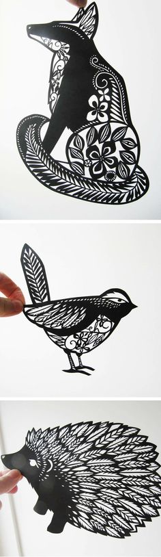 Animal paper cut outs / Emily Hogarth – black and white paper art ~ hedgehog ~ b… Tierpapier Fotoausschnitte / Emily Hogarth – Schwarzweiss-Papierkunst ~ Igel ~ Vogel ~ Fuchs Kirigami, Trendy Tattoos, Cool Tattoos, Tatoos, Rosary Tattoos, Bracelet Tattoos, Heart Tattoos, Skull Tattoos, Sleeve Tattoos