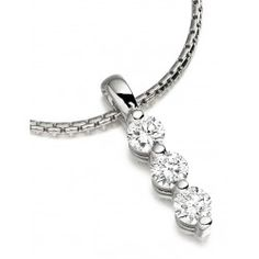 PDP044W - A 18ct white gold pendant and 18 inch chain with 3 round brilliant cut diamonds