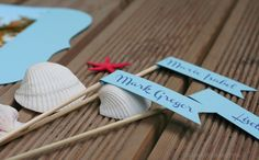 Beach themed cupcake toppers.