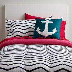 Nautical Navy and Pink Comforter Set. Twin XL Size and Very Unique for Dorm Rooms! Get this exclusively at www.dormitup.com