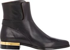 Chloé Leather Plated-Heel Boots-Colorless